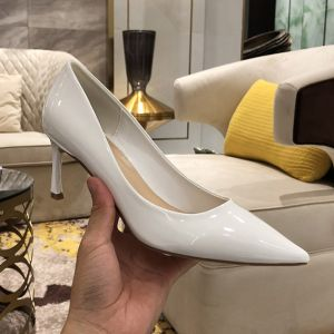 Modest / Simple Ivory Office OL Pumps 2020 Patent Leather 7 cm Stiletto Heels Pointed Toe Pumps