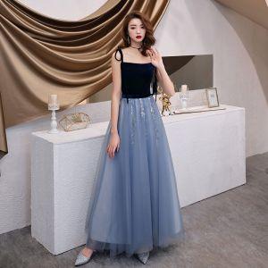 Chic / Belle Bleu Ciel Robe De Soirée 2019 Princesse Bretelles Spaghetti Noeud Paillettes En Dentelle Fleur Sans Manches Daim Dos Nu Longue Robe De Ceremonie