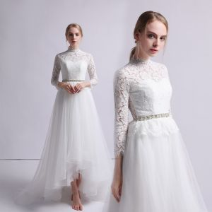 Vintage / Retro Ivory Beach Wedding Dresses 2019 A-Line / Princess High Neck Lace Bow 3/4 Sleeve Sweep Train
