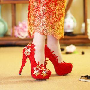 Chinese Stijl Rode Bruidsschoenen 2019 Goud Vlinder Bloem Kristal Parel 14 cm Naaldhakken / Stiletto Ronde Neus Huwelijk Pumps