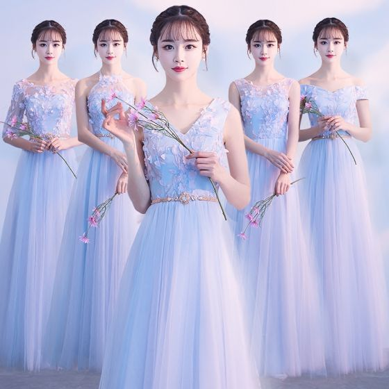 Affordable Sky Blue Bridesmaid Dresses 2018 A-Line / Princess Appliques Lace Metal Sash Floor-Length / Long Ruffle Backless Wedding Party Dresses