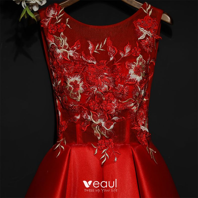 Chic / Beautiful Red Formal Dresses Evening Dresses  2017 Lace Flower Short Scoop Neck Sleeveless Ball Gown