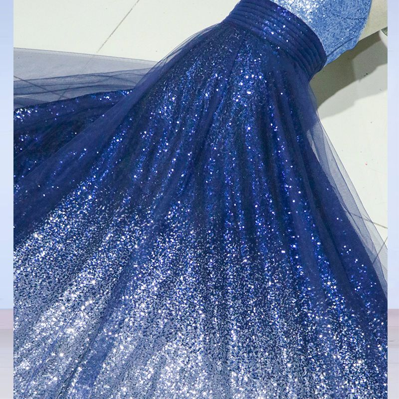 Modern / Fashion Starry Sky Evening Dresses  2017 A-Line / Princess Spaghetti Straps Sleeveless Gradient-Color Sequins Floor-Length / Long Formal Dresses