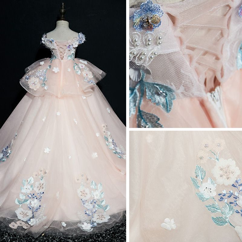 Luxury / Gorgeous Pearl Pink Flower Girl Dresses 2019 Ball Gown V-Neck Short Sleeve Appliques Lace Beading Pearl Sequins Sweep Train Ruffle Backless Wedding Party Dresses