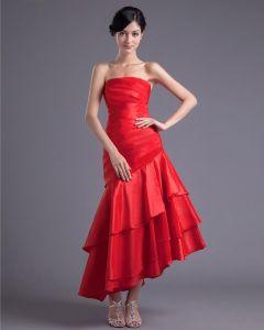 Mode Charmeuse Geplooide Strapless Asymmetrische Thee Lengte Bruidsmeisjes Jurken