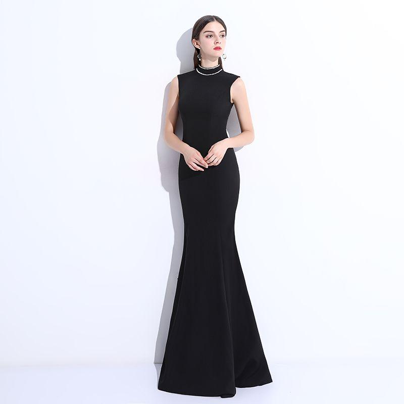 Simple Noir Robe De Soirée 2018 Trompette / Sirène Perlage Encolure Dégagée Longue Robe De Ceremonie