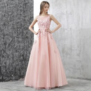 Chic / Beautiful Evening Dresses  2017 Candy Pink A-Line / Princess Floor-Length / Long Scoop Neck Sleeveless Backless Appliques Flower Pierced Formal Dresses