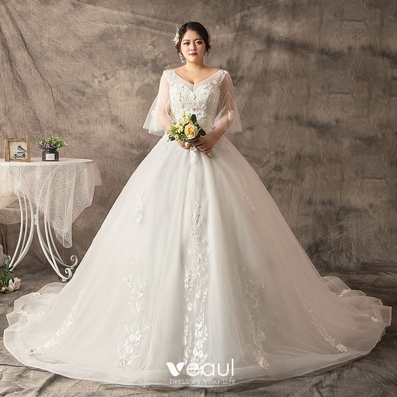 7a84514518123 Chic / Beautiful White Plus Size Ball Gown Wedding Dresses 2019 V ...