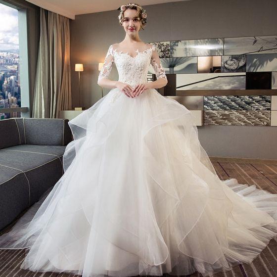 Bardzo dobry Piękne Kość Słoniowa Przebili Suknie Ślubne 2018 Suknia Balowa GB02