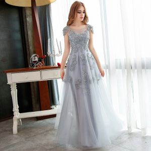 Chic / Beautiful Grey Prom Dresses 2018 A-Line / Princess Lace Appliques Sequins Scoop Neck Backless Cap Sleeves Floor-Length / Long Formal Dresses