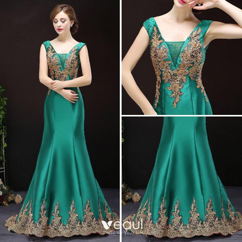 Chic / Beautiful Dark Green Evening Dresses  2017 V-Neck Appliques Rhinestone Strappy Satin Court Train Formal Dresses