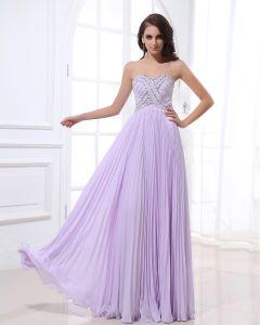 Bustier Longueur De Plancher De Perles Encolure Empire Robe De Soirée De Mousseline De Soie Plissee Femme