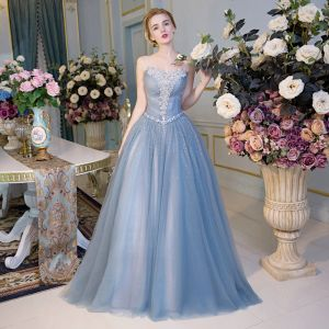 Chic / Beautiful Evening Dresses  2017 Sky Blue A-Line / Princess Floor-Length / Long Strapless Sleeveless Backless Sash Appliques Flower Rhinestone Sequins Formal Dresses