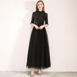 Piękne Czarne Homecoming Sukienki Na Studniówke 2019 Princessa Wysokiej Szyi Cekiny 1/2 Rękawy Długość Kostki Sukienki Wizytowe