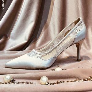 Chic / Belle Ivoire Chaussure De Mariée 2019 En Dentelle 5 cm Talons Aiguilles À Bout Pointu Mariage Escarpins