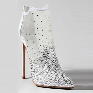Unique Ivory / Creme Abend Stiefel Damen 2020 Durchsichtige Tülle Strass 12 cm Stilettos Spitzschuh Stiefel
