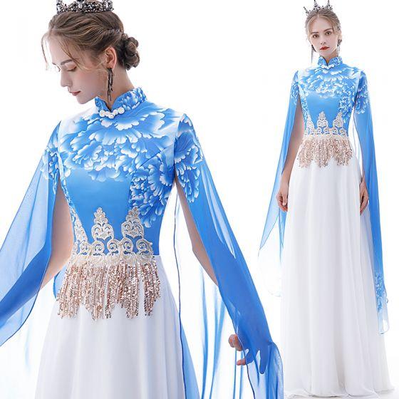 Style Chinois Bleu Chiffon Robe De Soirée 2020 Princesse Col Haut Manches Courtes Impression Fleur Appliques En Dentelle Paillettes Gland Longue Volants Robe De Ceremonie