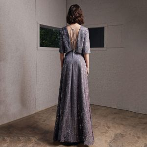 Fashion Grey Evening Dresses  2020 A-Line / Princess Scoop Neck 1/2 Sleeves Glitter Polyester Floor-Length / Long Backless Formal Dresses