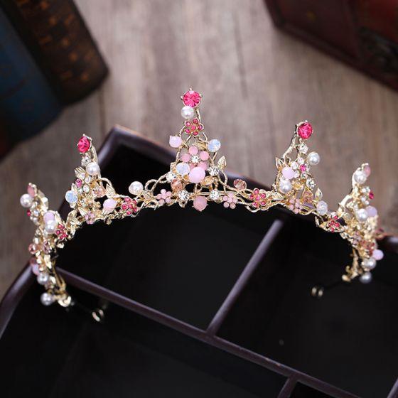 Modest / Simple Candy Pink Rhinestone Tiara 2018 Metal Pearl Crystal Wedding Accessories