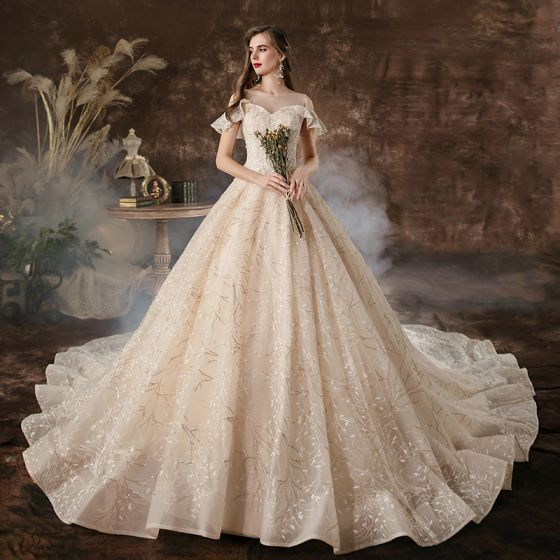 Charming Champagne Wedding Dresses 2020 A-Line / Princess Scoop Neck Beading Sequins Lace Flower Short Sleeve Backless Cathedral Train