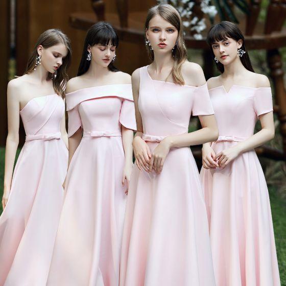 Abordable Rougissant Rose Satin Robe Demoiselle D'honneur 2020 Princesse Dos Nu Noeud Ceinture Longue Volants