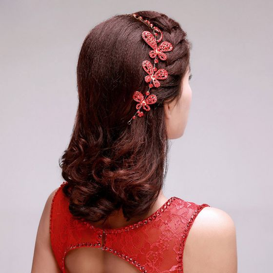 Chinese Stijl Rode Strass Bruids Hoofdtooi / Head Bloem / Bruiloft Haar Accessoires / Bruiloft Sieraden