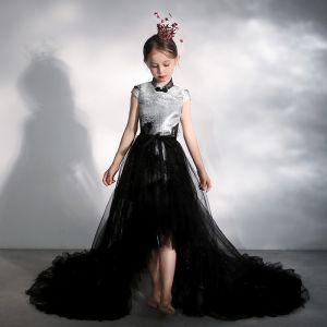 Chiński Styl Czarne Urodziny Sukienki Dla Dziewczynek 2020 Princessa Wysokiej Szyi Rękawy z Kapturkiem Cekinami Tiulowe odpinany Trenem Sąd