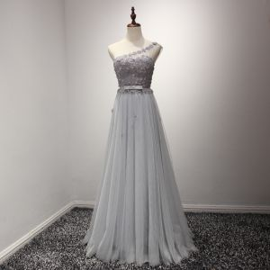 Chic / Beautiful Grey Evening Dresses  2017 A-Line / Princess Floor-Length / Long Cascading Ruffles One-Shoulder Sleeveless Backless Bow Sash Pearl Appliques Flower Rhinestone Pierced Formal Dresses