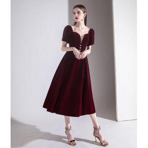 Elegant Burgundy Evening Dresses  2020 A-Line / Princess Suede Square Neckline Short Sleeve Backless Tea-length Formal Dresses