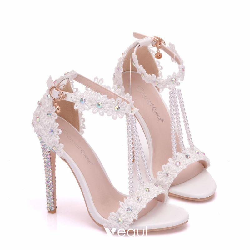 Charming White Wedding Shoes 2018 Lace Flower Rhinestone