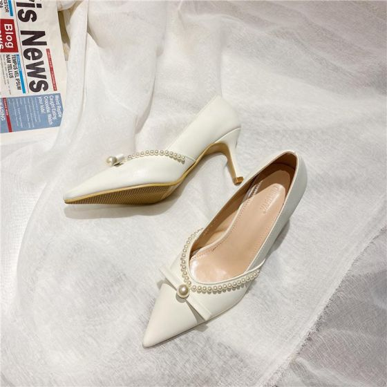 Elegante Ivory / Creme Datierung Perle Schleife Pumps 2021 7 cm Stilettos Spitzschuh Pumps Hochhackige