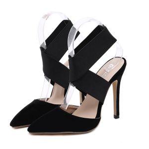 Abordable Noire Soirée Sandales Femme 2020 X-Strap 12 cm Talons Aiguilles À Bout Pointu Sandales