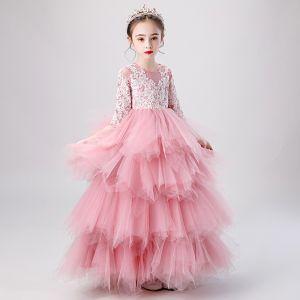 Mode Pink Durchsichtige Geburtstag Blumenmädchenkleider 2020 Ballkleid Rundhalsausschnitt 3/4 Ärmel Applikationen Spitze Perlenstickerei Lange Fallende Rüsche