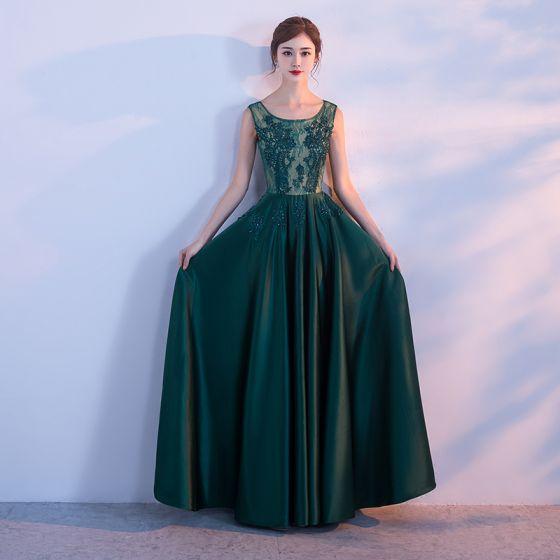 Hermoso Verde Oscuro Vestidos de noche 2017 A-Line / Princess Tul U-escote Apliques Sin Espalda Rebordear Noche Vestidos Formales