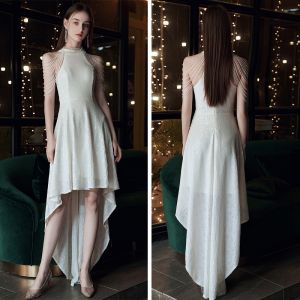 Chic / Beautiful White Sequins Cocktail Dresses 2020 A-Line / Princess Scoop Neck Sleeveless Beading Asymmetrical Formal Dresses