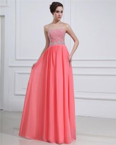 Sleeveless Charmeuse Chiffon Beading Sweetheart Floor Length Prom Dresses