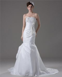 Elegant Beading Ruffles Strapless Floor Length Court Train Taffeta Mermaid Wedding Dress