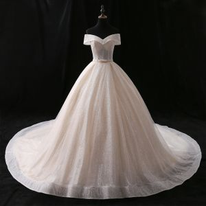 Sparkly Champagne Wedding Dresses 2018 Ball Gown Bow Glitter Off-The-Shoulder Backless Sleeveless Chapel Train Wedding