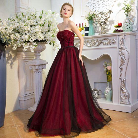Stylowe / Modne Burgund Sukienki Wieczorowe 2017 Princessa Tiulowe Bez Pleców Frezowanie Wykonany Ręcznie Wieczorowe Bal Sukienki Wizytowe