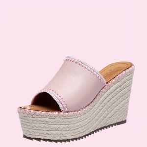Mooie / Prachtige Tuin / Outdoor Sandalen Dames 2017 PU Vlecht Sleehakken Hoge Haken Peep Toe Sandalen