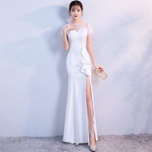 Elegant White Evening Dresses  2018 Trumpet / Mermaid Lace Flower Sequins Scoop Neck Backless Split Front Short Sleeve Floor-Length / Long Formal Dresses