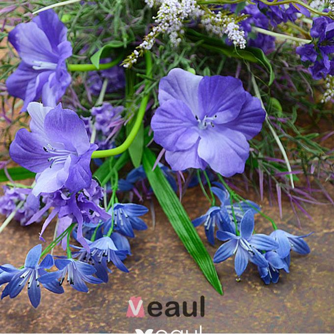 Simulation Silk Artificial Flowers Blue-purple Natural