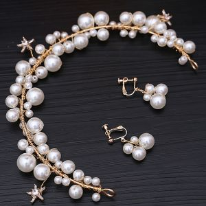 Chic / Beautiful Ivory Bridal Jewelry 2020 Metal Pearl Earrings Headpieces Wedding Accessories