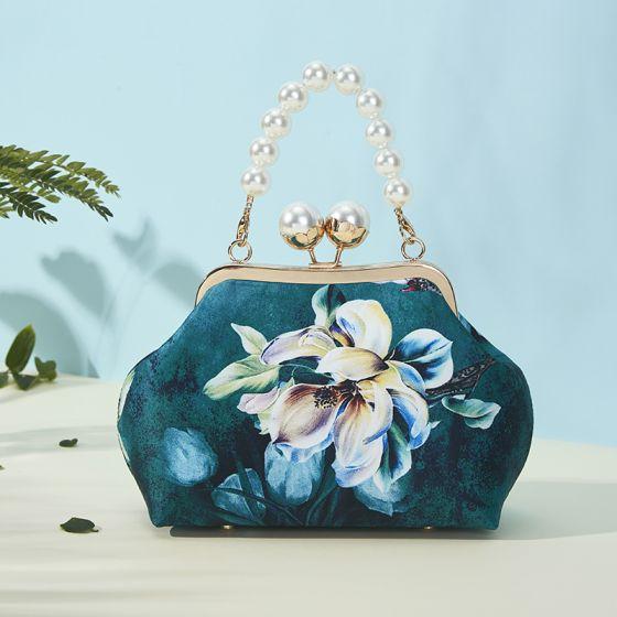 Vintage Chinesischer Stil Dunkelgrün Clutch Tasche 2020 Metall Drucken Blumen Polyester