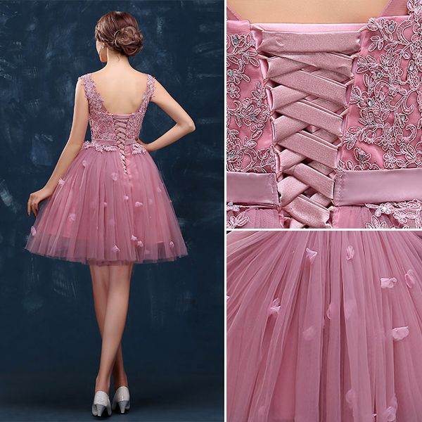 2015 Sweet Girl Shoulders V-neck Lace & Tulle Cocktail Party Dress