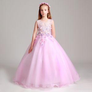 Schöne Rosa Mädchenkleider 2017 Ballkleid Perle Rundhalsausschnitt Ärmellos Mit Spitze Applikationen Blumen Lange Rüschen Kleider Für Hochzeit