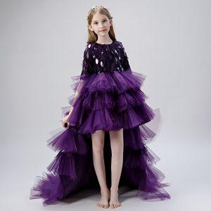 a9cc7e543 Vestido Alto Uva Vestidos para niñas 2019 Ball Gown Scoop Escote 1 2 Ærmer  Tassel
