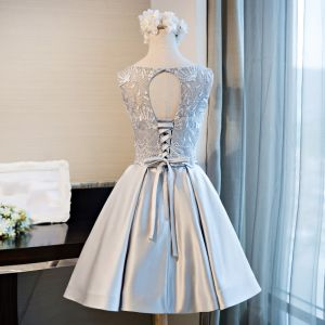 Chic / Beautiful Grey Graduation Dresses 2017 U-Neck Lace Appliques Backless Homecoming Cocktail Party Party Dresses