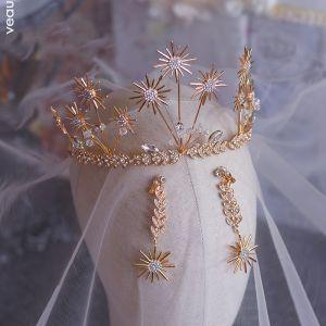 Piękne Złote Ozdoby Do Włosów Ślubne 2019 Metal Liść Kolczyki Tiara Kryształ Rhinestone Ślub Akcesoria