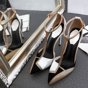 Chic / Beautiful 2017 8 cm / 3 inch Black Gold White Casual Cocktail Party Evening Party Leatherette Summer Rhinestone High Heels Stiletto Heels Pumps